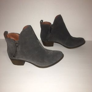 EUC Lucky Brand Gray Zip Booties